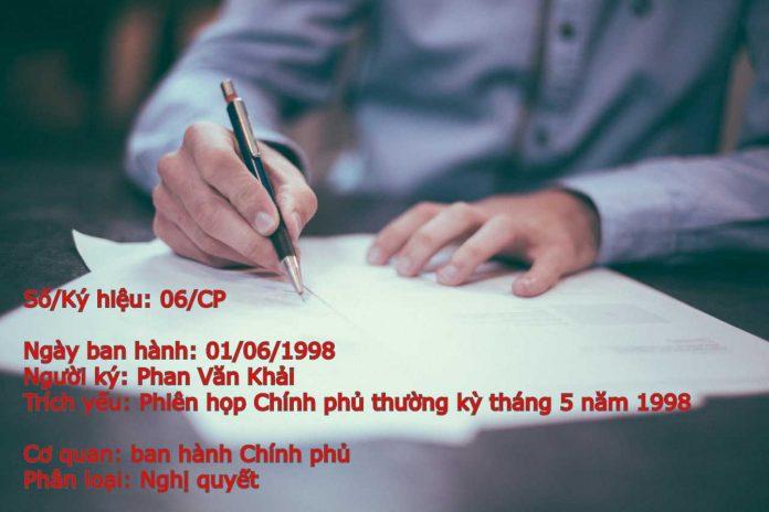 Nghị quyết số 06/CP của Chính phủ Phiên họp Chính phủ thường kỳ tháng 5 năm 1998